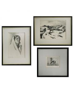 SOLD Group of 3 - Two Prints by Kenneth Adams (1897-1966) and One Woodblock by Woody Crumbo (1912-1989)