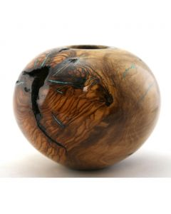 SOLD Greg Campbell - Olive and Turquoise Turned Wood Vessel
