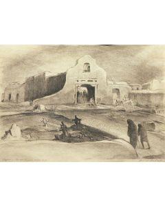 SOLD Joseph Imhof (1871-1955) - Vespers, Duran Chapel, Talpa, N.M.