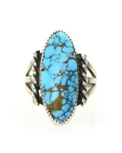 Lot 137 - Navajo Number 8 Turquoise and Silver Ring c. 1940s, size 4.75 (J8180), Great Number 8 Turquoise Stone