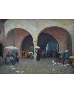 Agnes Gabrielle Tait (1894-1981) - Marketplace in Mexico