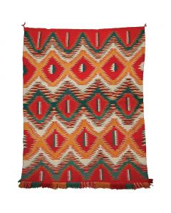 "Navajo Germantown Eyedazzler Blanket, circa 1890, 71"" x 57"""