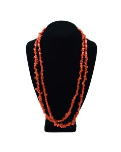 "Lot 162 - Navajo Double-Strand Beaded Coral Necklace c. 1960s, 26"" length (J8266)"