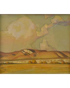 Maynard Dixon (1875-1946) - Sketch for Overmantel, Chalk Hills, Utah