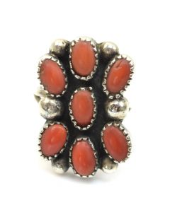 Navajo Coral and Silver Ring c. 1950, size 5.75