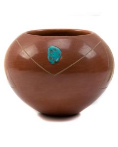 Tony Da (1940-2008) - San Ildefonso Redware Sgraffito Jar with Feather Design and Turquoise