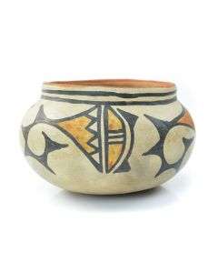 "Maria Martinez (1887-1980) and Julian Martinez (1885-1943) - San Ildefonso Polychrome Jar with Abstracted Geometric Designs c. 1930, 2.875"" x 4.5"""