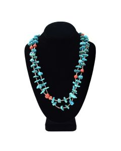 "Santo Domingo Turquoise, Coral, and Heishi Two Strand Necklace c. 1960, 38"" length"