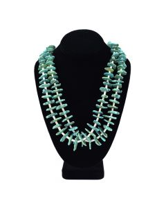 "Navajo Turquoise and Heishi Two Strand Necklace c. 1960, 32"" length"