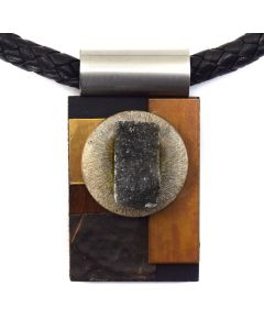 Shirley Wagner - Pendant with Grey Druzy, Sterling Silver Disc, Copper, Wood, and Leather Cord with Magnetic Closure