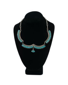 "Bernall Natewa - Zuni Turquoise and Silver Necklace c. 1970, 18.5"" length"