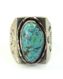 Navajo Turquoise and Silver Ring c. 1950-60, size 9.75