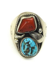Navajo Turquoise, Coral and Silver Ring c. 1960, size 10.5