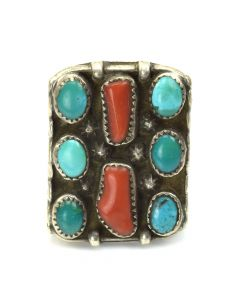 Navajo Turquoise, Coral and Silver Ring c. 1960, size 9