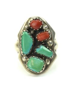 Navajo Turquoise, Coral and Silver Ring c. 1960, size 9.5