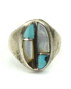 Navajo Mother of Pearl, Turquoise, Jet, and Silver Ring c. 1960, size 5.5