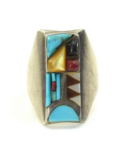 Zuni Multi-Stone Inlay and Silver Ring c. 1970, size 11.75