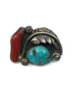 "Navajo Turquoise, Coral and Silver Leaf Design Pin c. 1960, 1.125"" x 0.75"""