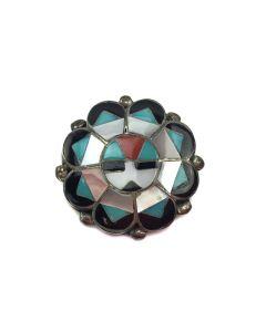"""Zuni Multi-Stone Inlay and Silver Sunface Kachina Pin/Pendant c. 1960, 1"""" x 1"""""""