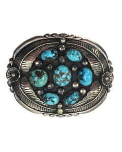 "M. Chee - Navajo #8 Turquoise and Silver Belt Buckle c. 1960, 3"" x 3.875"""