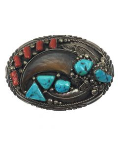 "Jackie Singer - Navajo Turquoise, Coral and Silver Belt Buckle with Bear Claw c. 1960-70, 2.75"" x 3.75"""