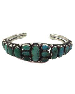 Navajo Turquoise and Ingot Silver Row Bracelet c. 1920, size 7