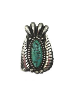 """Navajo Turquoise and Silver Pin c. 1940, 2.5"""" x 1.5"""""""