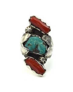 Lot 141 - Dan Simplicio (1917-1969) - Zuni: Turquoise, Coral, and Silver Ring c. 1950s, size 7.75 (J8812)