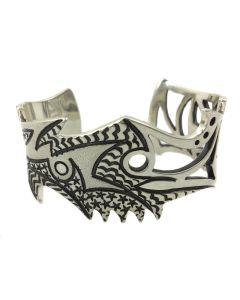 """Jared Chavez - San Felipe Pueblo """"Transcendence"""" Half Textured, Half Pierced 10 Gauge Sterling Silver Bracelet"""