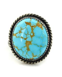 Matthew Miranda - Acoma/Spanish High Grade Natural Number 8 Turquoise and Sterling Silver Ring, size 7