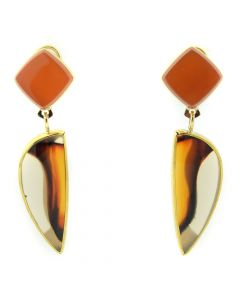 Duane Maktima Hopi/Laguna - 14KT Gold Earrings with Montana Agate and Chalcedony