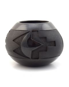 "Dominique Naranjo - Santa Clara Black Carved Jar c. 1970, 3.5"" x 4.5"""