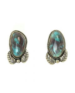 """Navajo Smoky Bisbee Turquoise Earrings c. 1960, 1.5"""" x 0.875"""""""