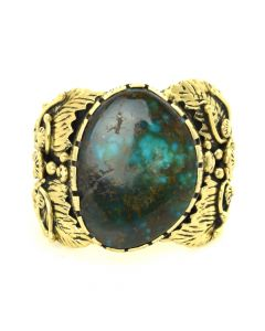 Boyd Tsosie - Navajo Turquoise and Gold Ring c. 1970-80, size 10.5