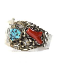 Navajo Turquoise, Coral and Silver Watchband c. 1960, size 8