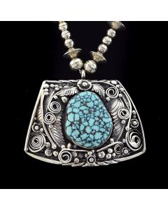"""Tom Willeto - Navajo Turquoise and Silver Pendant and Beaded Chain c. 1970, 23"""" length"""