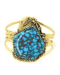 Navajo Turquoise and 14K Gold Bracelet c. 1970, size 6