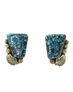 "Navajo Turquoise and Silver Clip-On Earrings with Floral Design c. 1970s, 1.5"" x 0.875"" (J91936C-0318-048)"