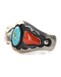Navajo Turquoise, Coral and Silver Watchband c. 1970, size 6