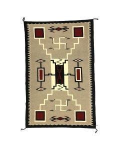 "Navajo Crystal Storm Pattern Rug with Whirling Logs and Waterbug Designs c. 1960, 90.5"" x 64.5"""
