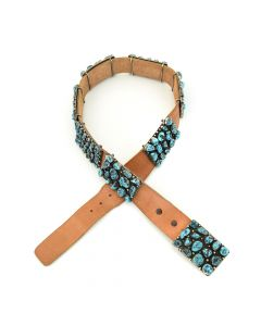 """Navajo Kingman Turquoise and Silver Concho Belt c. 1980, 28-31"""""""