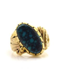 Unknown Maker - Turquoise and 14K Gold Ring c. 1970-80, size 4