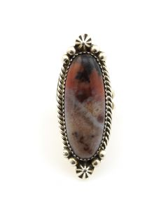 Kenneth Jones - Navajo Petrified Wood and Sterling Silver Ring c. 2010, size 6.75
