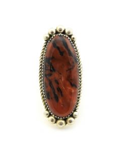 Kenneth Jones - Navajo Petrified Wood and Sterling Silver Ring c. 2010, size 7.75