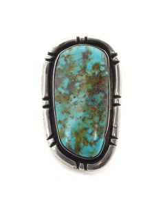 Julian Lovato - Santo Domingo Thunderbird Shop Indian Handmade Turquoise and Sterling Silver Ring c. 1950, size 7
