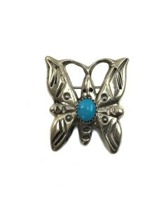 "Navajo Turquoise and Silver Butterfly Pin c. 1960-70, 1.375"" x 1.125"""