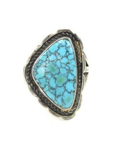 Navajo Black Web Number 8 Turquoise and Silver Ring c. 1940-50, size 7.5
