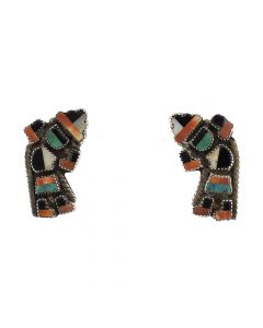 """Zuni Turquoise, Spiny Oyster, Mother of Pearl, Jet, and Silver Knifewing Dancer Post Earrings c. 1940, 1.125"""" x 0.75"""""""