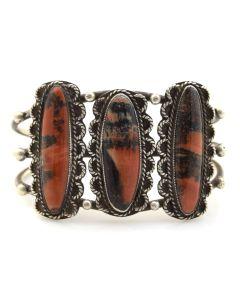Navajo Petrified Wood and Silver Bracelet c. 1940, size 6.25