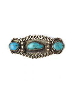 """Navajo Turquoise and Silver Tie Clip c. 1950, 0.75"""" x 2"""""""